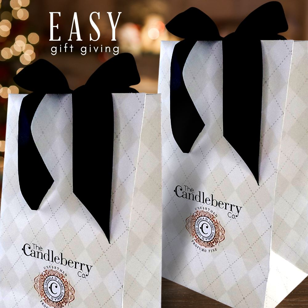 LUXURY HIGH-END GIFT BAG - SILK RIBBON & COPPER FOIL Accessories The Candleberry® Candle Company