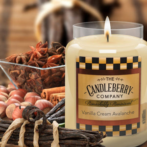 Vanilla Cream Avalanche, 26 oz. Jar, Scented Candle 26 oz. Large Jar Candle The Candleberry Candle Company
