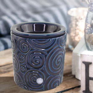 """Blue Swirl"" Tart Warmer, Including Safety Timer Accessories The Candleberry Candle Company"