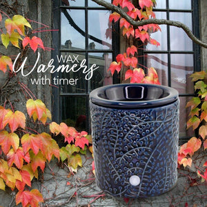 """Blue Leaf"" Tart Warmer, Including Safety Timer Warmer The Candleberry Candle Company"