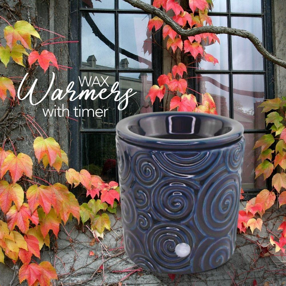 """Blue Swirl"" Tart Warmer, Including Safety Timer Warmer The Candleberry Candle Company"