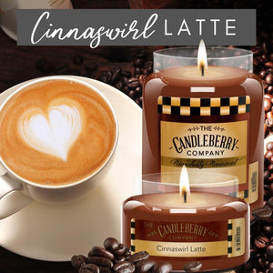 USE CODE: AUGCOM2020 for 20% OFF - Cinnaswirl Latte™, 26 oz. Jar, Scented Candle 26 oz. Large Jar Candle The Candleberry Candle Company