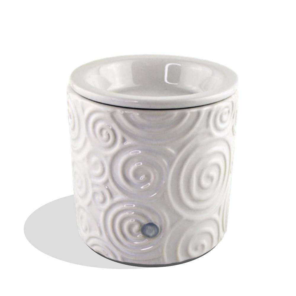 """White Swirl"" Tart Warmer, Including Safety Timer Accessories The Candleberry Candle Company"