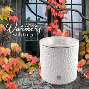 """White Leaf"" Tart Warmer, Including Safety Timer Warmer The Candleberry Candle Company"
