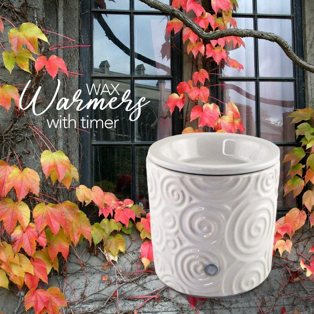 """White Swirl"" Tart Warmer, Including Safety Timer Warmer The Candleberry Candle Company"