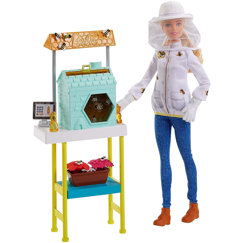 Barbie Beekeeper Beehive Blonde Career Doll Playset