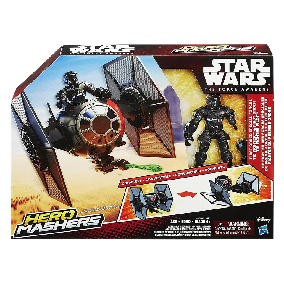 Star Wars Hero Mashers Episode VII Tie Fighter w/Pilot Action Figure Hasbro B3703AS0
