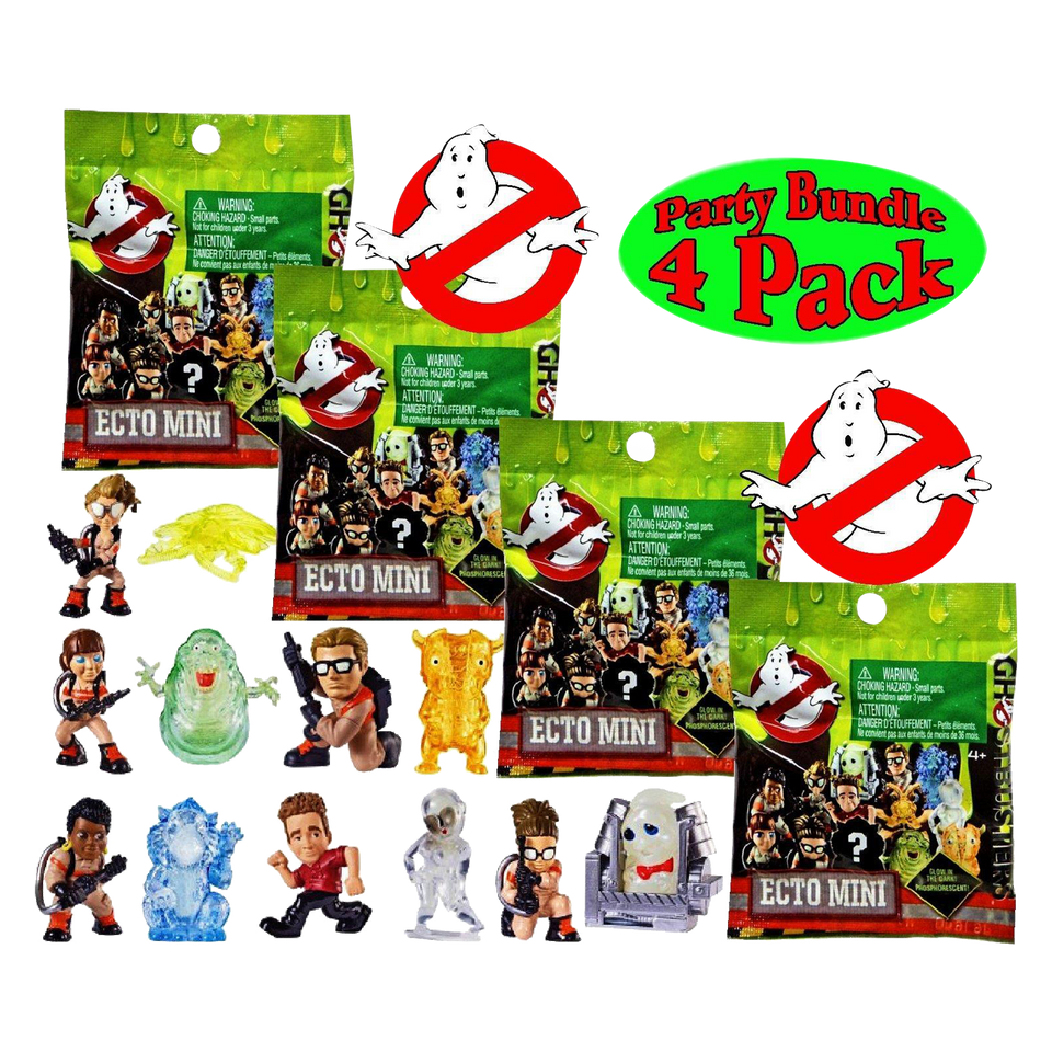 Ghostbusters Ecto Minis Blind Bags 4-pack Glow in Dark Ghosts Mystery Figures Mattel DRR944PK