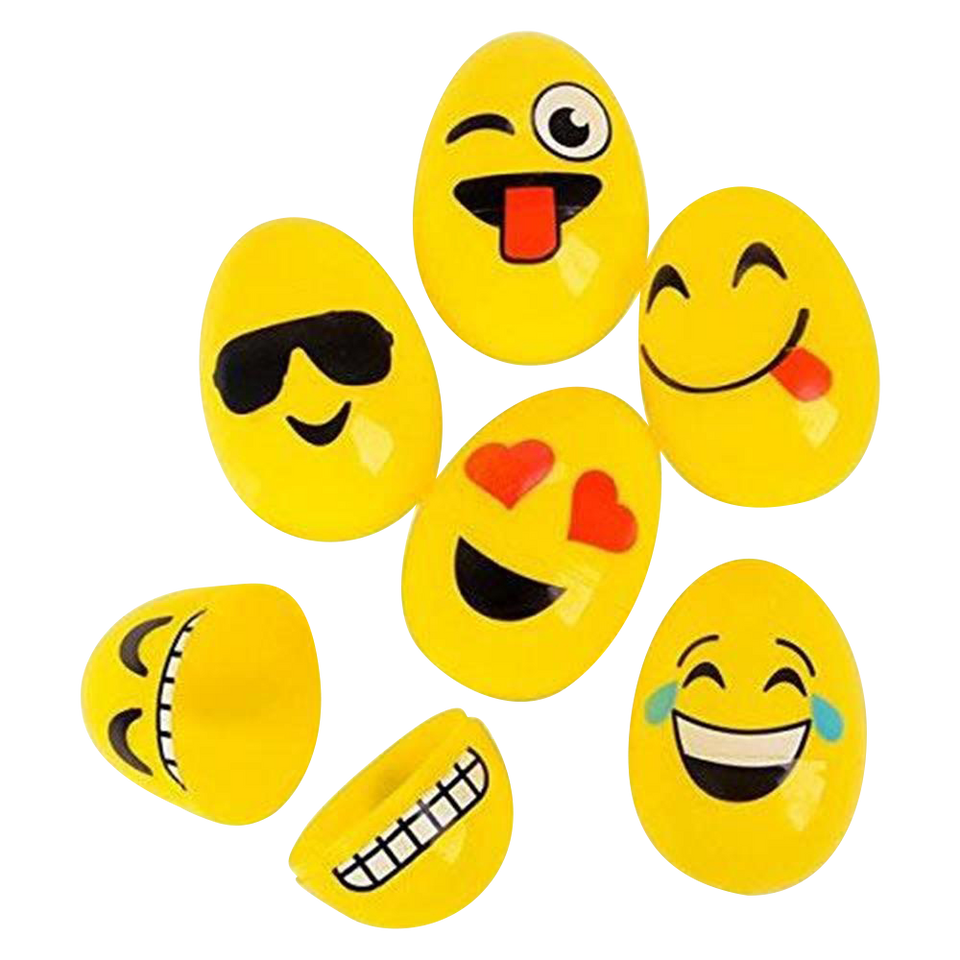 Emoticon Plastic Easter Egg Hunt Set Emoji Faces 48 count