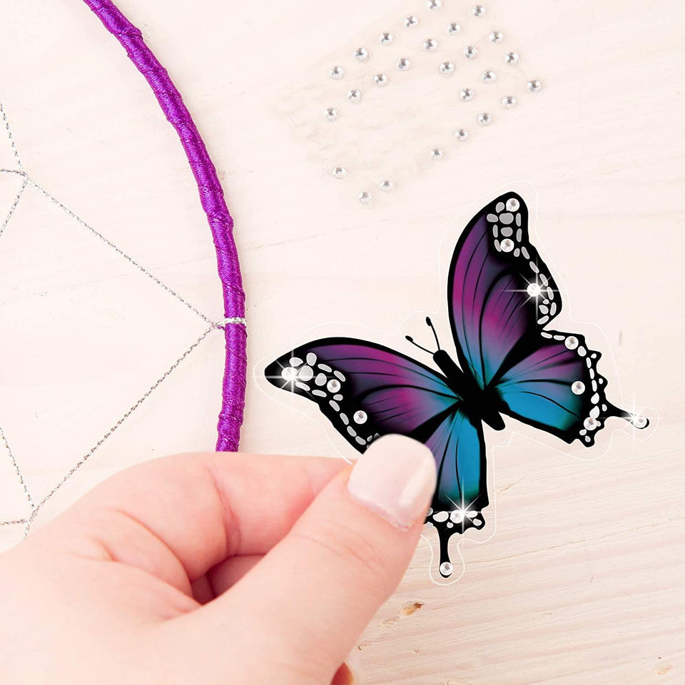 DIY Dreamcatcher Arts & Crafts Kit Hoop Strings Ribbons Beads Butterfly Pin