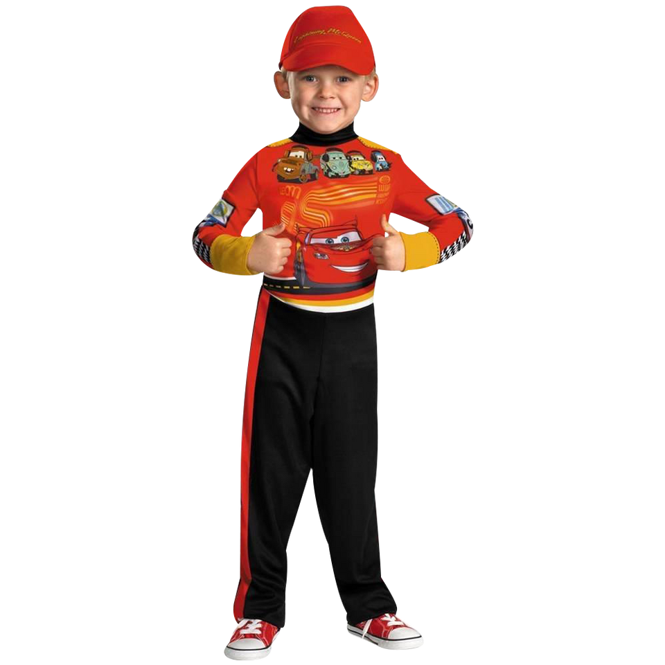 Disney Cars 2 Lightning Mcqueen Pit Crew Classic size M 7/8 Boys Costume Disguise