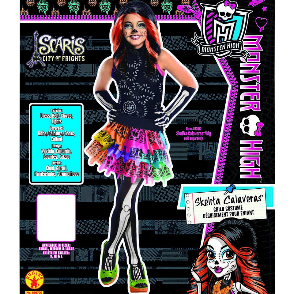 Monster High Skelita Calaveras Girls size L Licensed Costume Rubie's