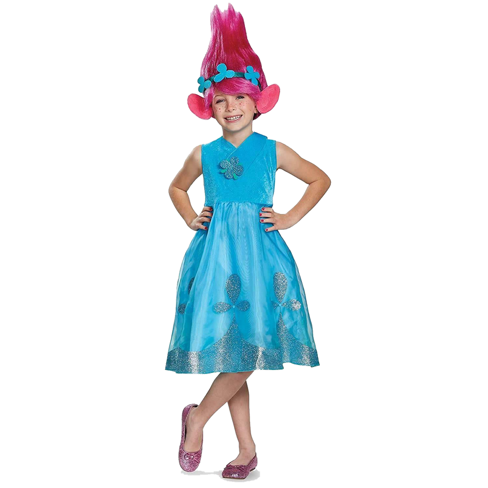 Trolls Poppy Deluxe with Wig Girls Licensed Costume - Medium (7/8)