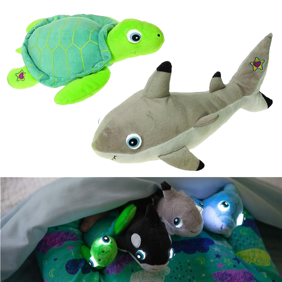 NightBuddies Baby Sea Turtle & Shark 2pk Light-Up Plush Animal Toy Set