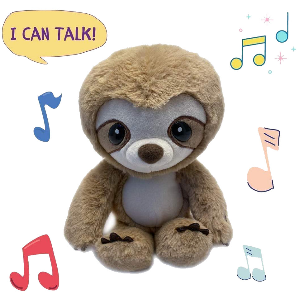 Sloth Mimic Repeats Talk Back Plush Early Learning Kids Toy Animal