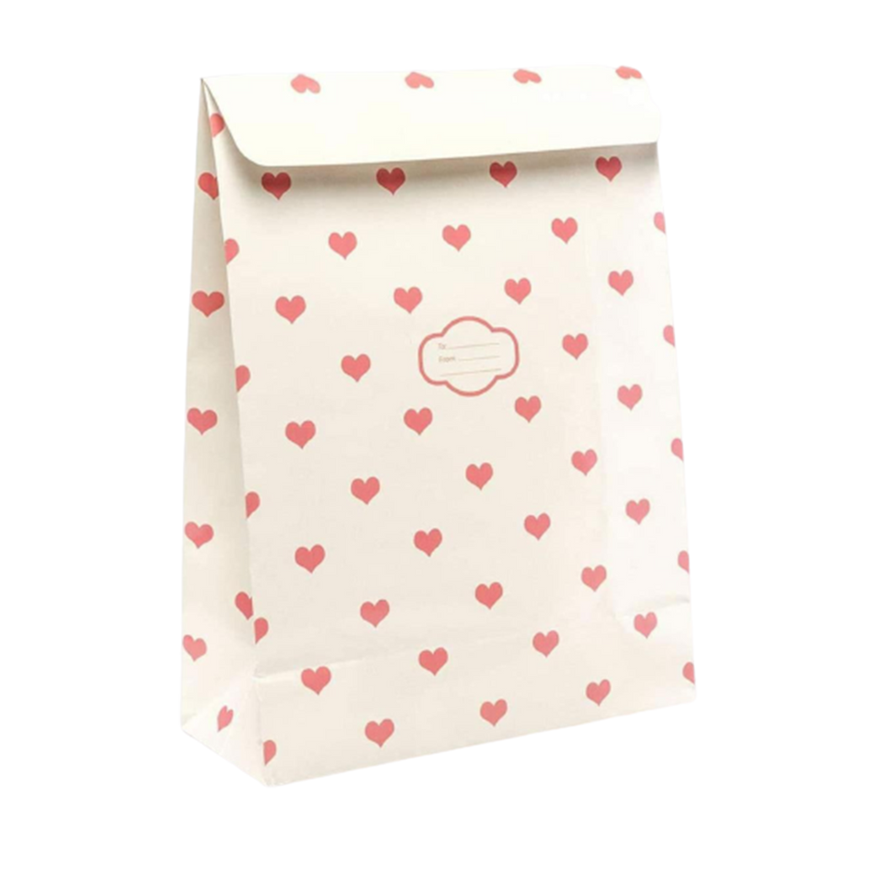 Peel & Seal Gift Bag Cream Hearts 12pk Small No-Wrap Present