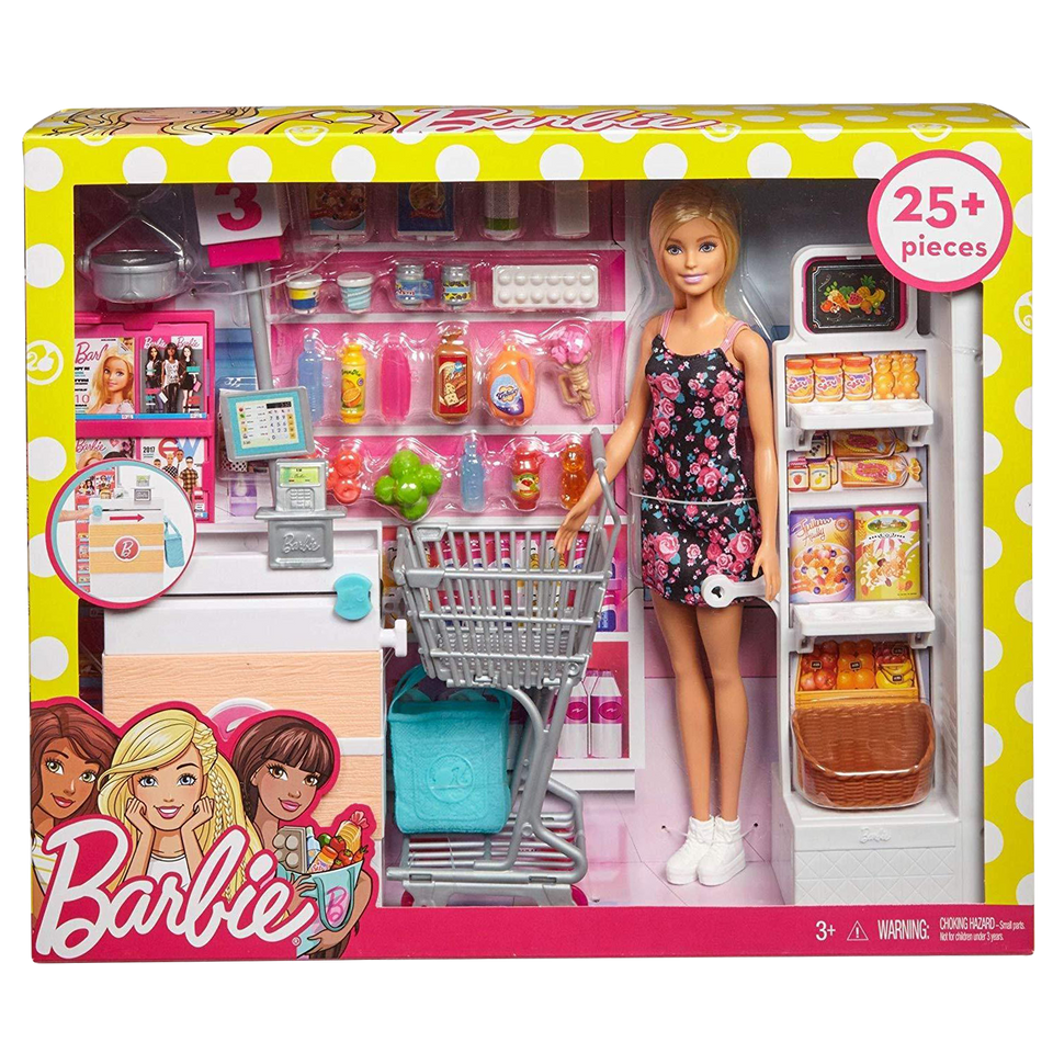Barbie Supermarket Grocery Shopping Blonde Doll Playset