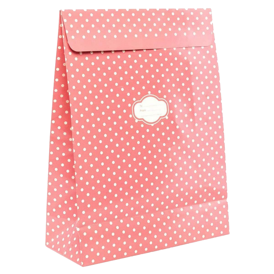 Peel & Seal Gift Bag Pink Polka Dots 12pk Small No-Wrap Present
