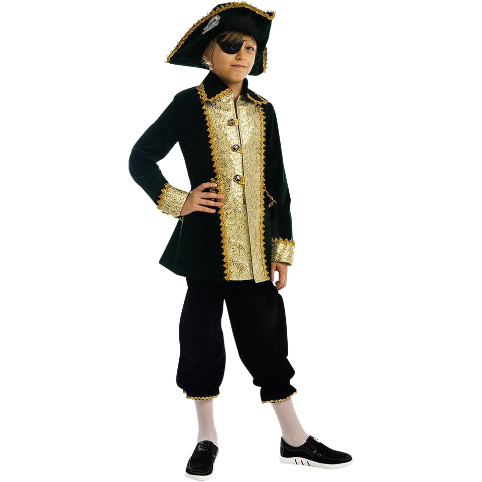 Captain of Pirates Boys Carnival Costume Dress-Up Play Kids - X- Small