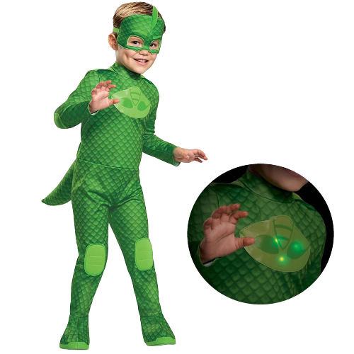 PJ Masks Gekko Deluxe Light-Up Toddler size M 3T/4T Kids Costume Disguise