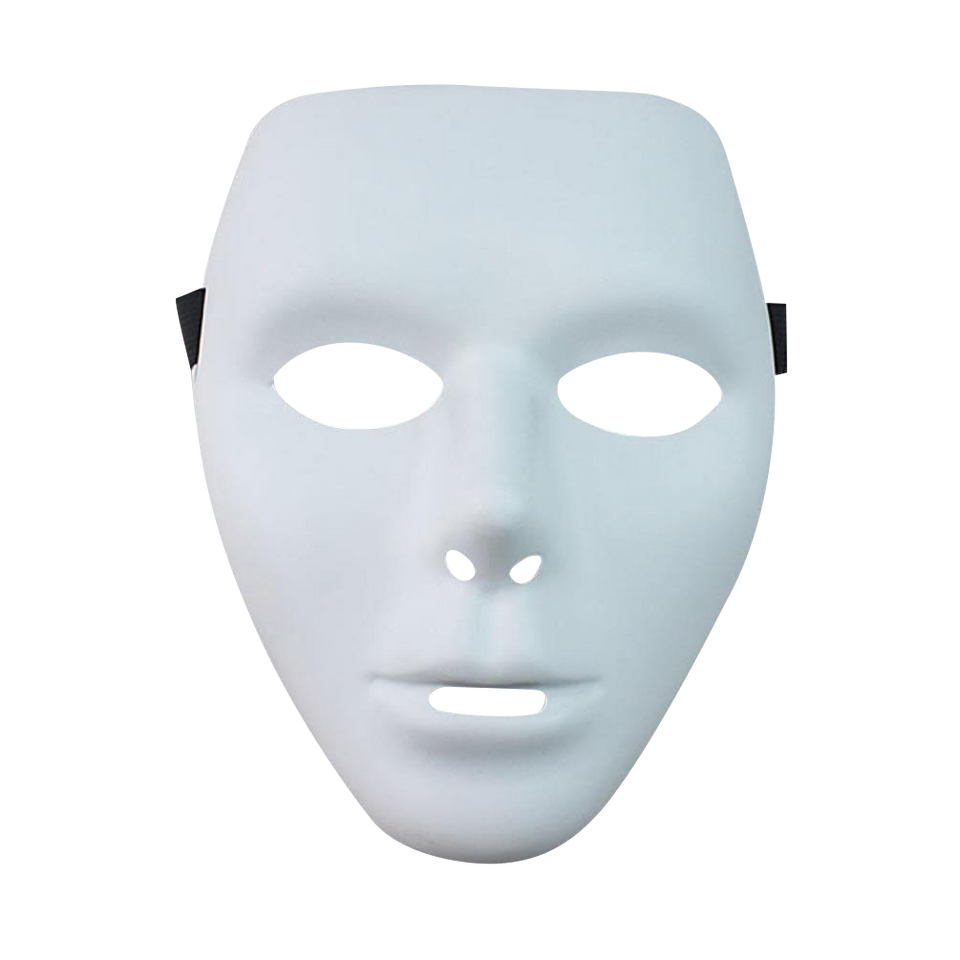 Blank Male White Face Mask Drama Dance Hip-Hop Persona Disguise