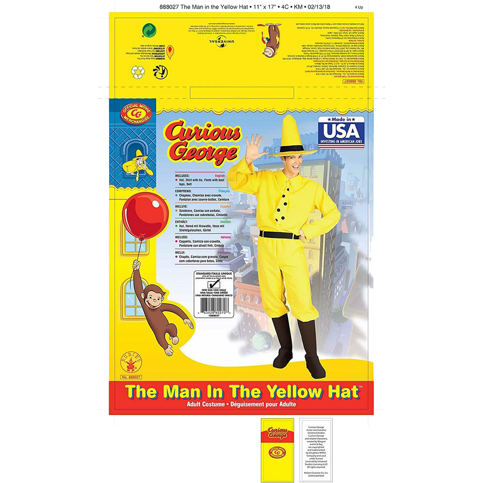 Curious George Man in The Yellow Hat Licensed Costume Mens - O/S