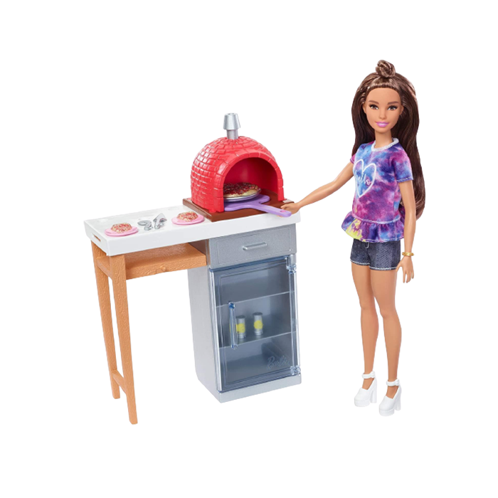 Barbie Outdoor Furniture Set with Brick Pizza Oven Food Doll Playset