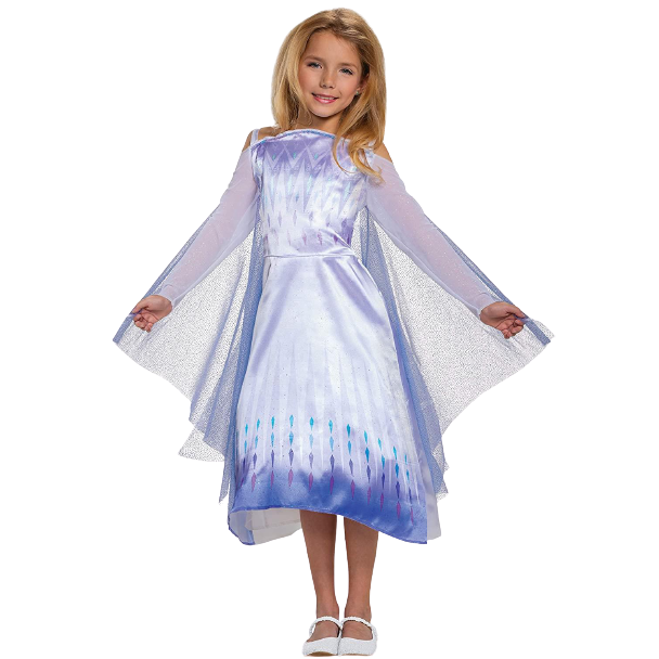 Disney Frozen 2 Elsa Snow Queen Girls Dress Cape Costume - Small (4/6)