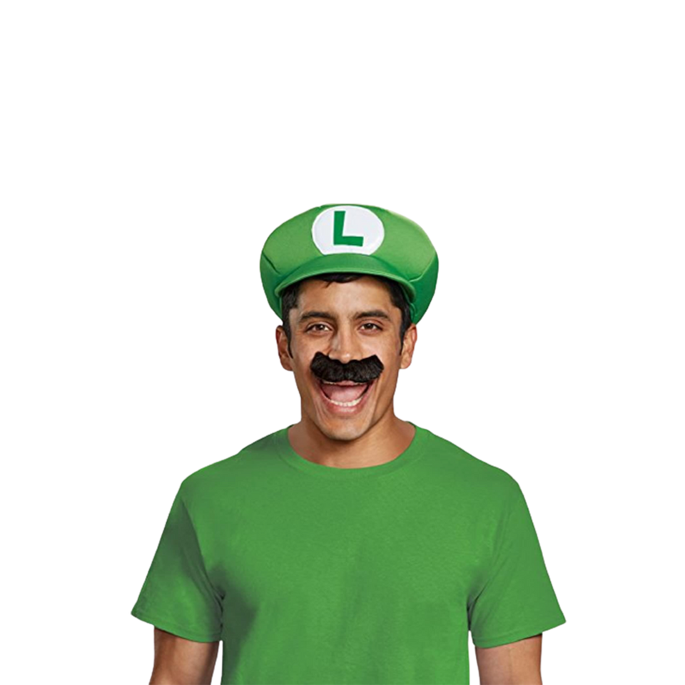 Nintendo Super Mario Brothers Luigi Hat Mustache Kit Adult Costume Accessory
