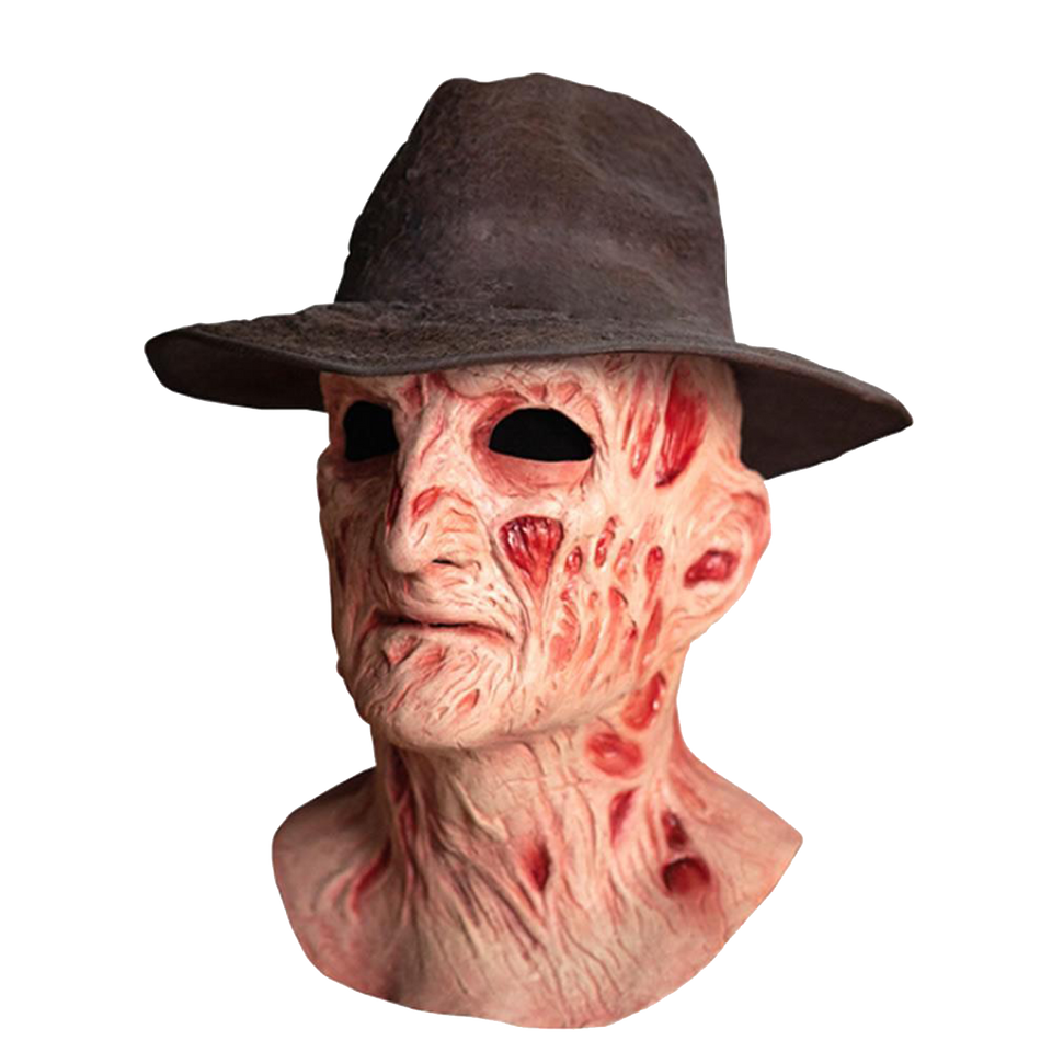 Nightmare on Elm St 4 Freddy Mask with Fedora Hat Deluxe Freddy's Revenge Horror Movie Costume