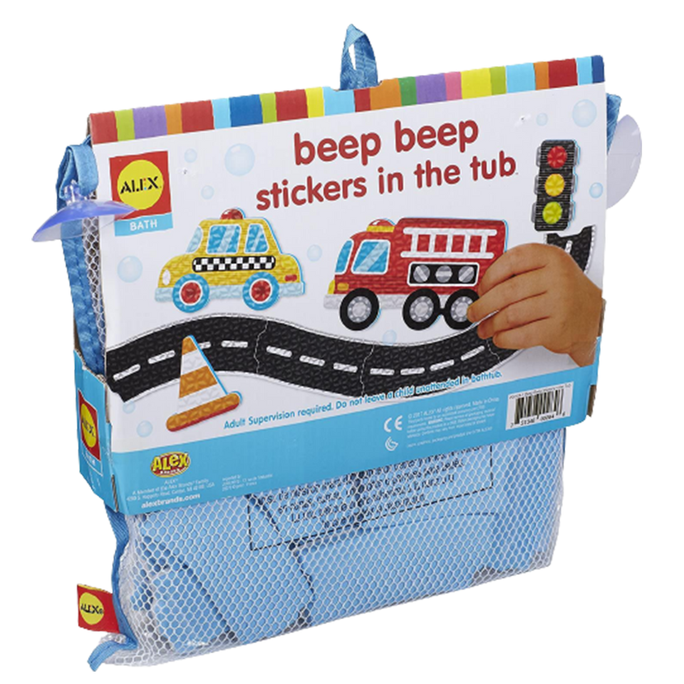Beep Beep Stickers in The Tub Foam 38pc Bath Toy Cars Bus Trucks