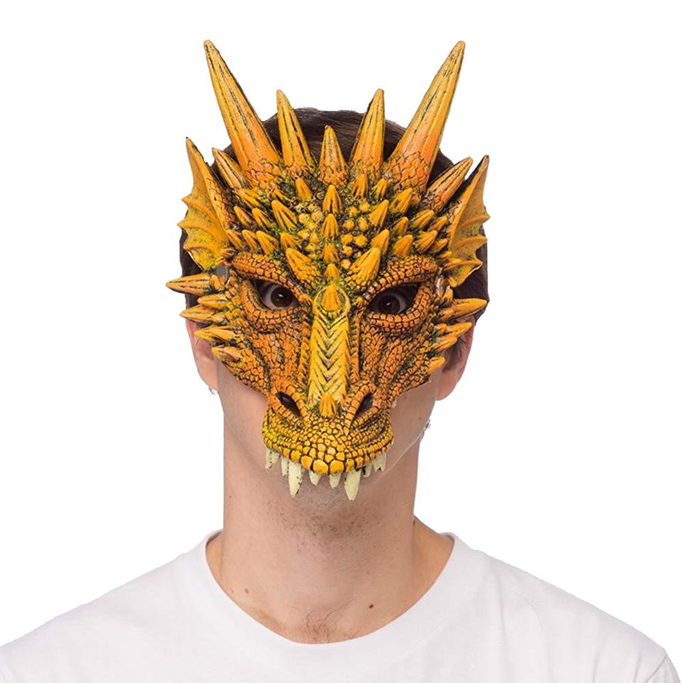 Mythical Orange Dragon Mask Supersoft Adult Costume Accessory HMS