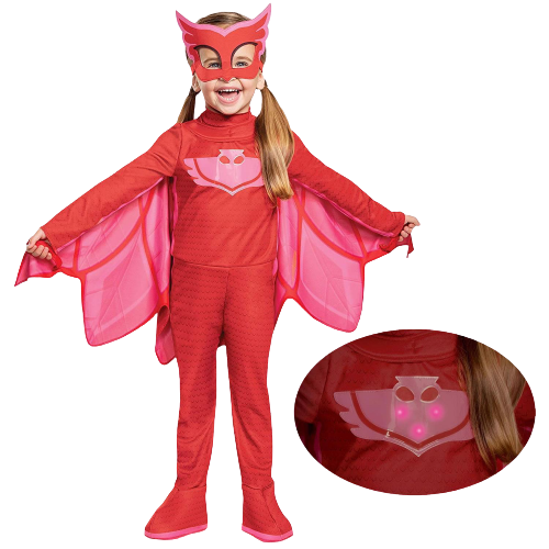 PJ Masks Owlette Deluxe Light-Up Toddler size S 2T Kids Costume Disguise