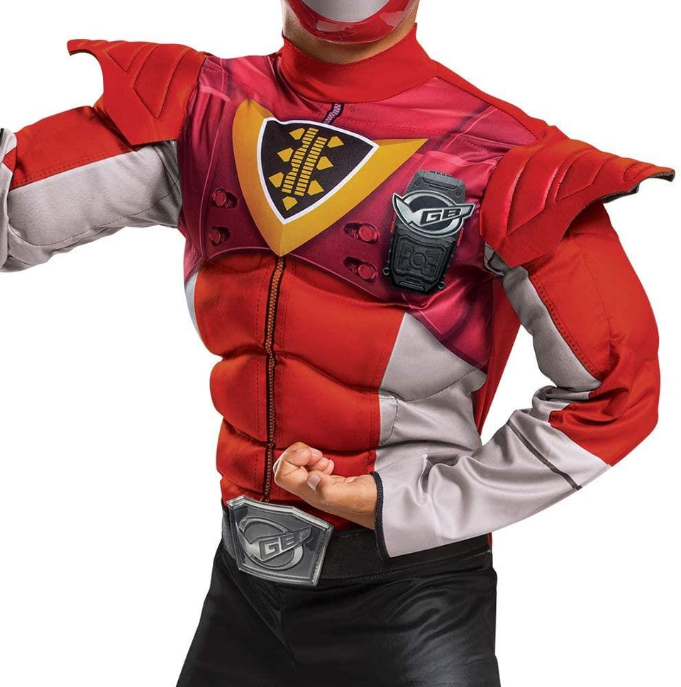 Power Rangers Beast Morphers Red Ranger Boys size M 7/8 Muscle Costume Disguise