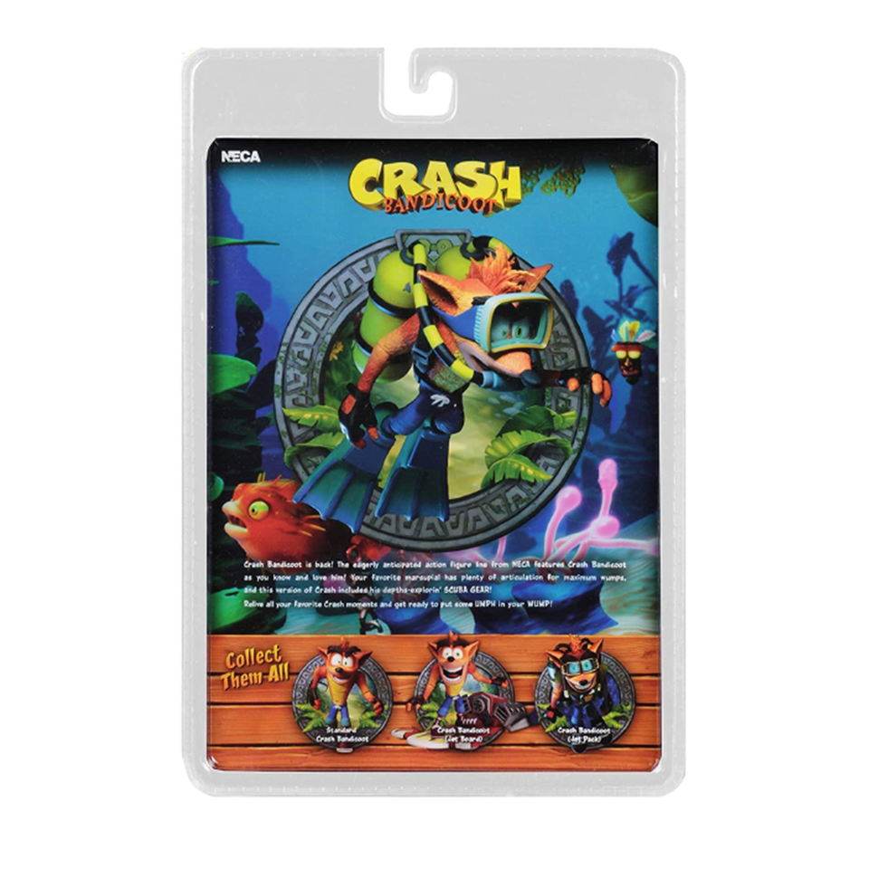 "Crash Bandicoot Deluxe with Scuba Diving Gear Action Figure Collectible 7"" Scale"