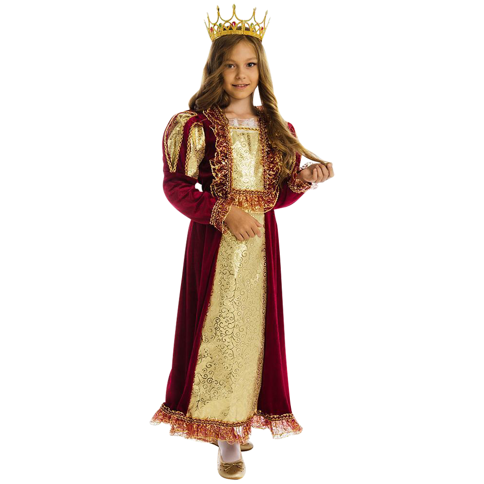 5 O'Reet  British Royal Queen Elizabeth Girls Plush Costume Dress-Up Play Kids Size Extra Small