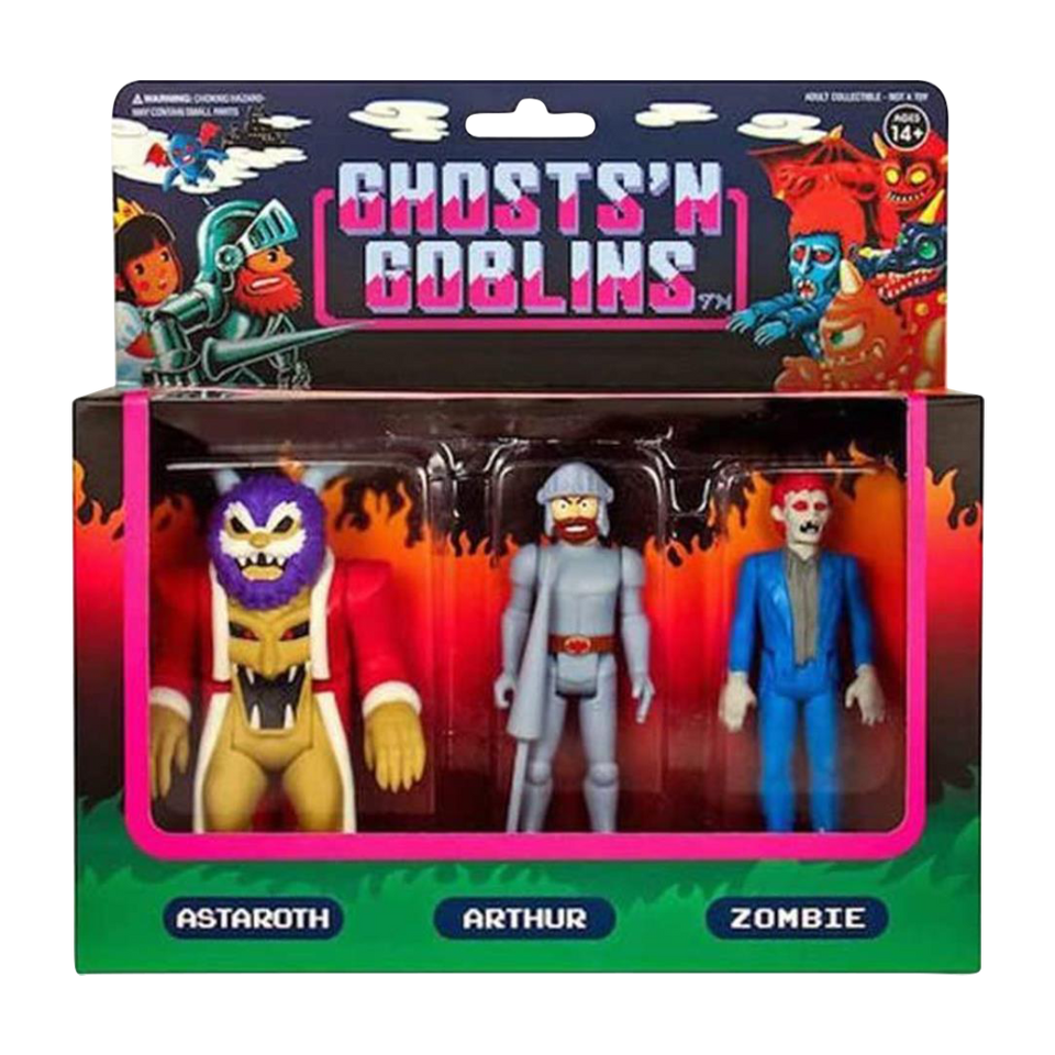 Ghosts 'n Goblins Arthur Astaroth Zombie 3-Pack A Reaction Figure Set Super7