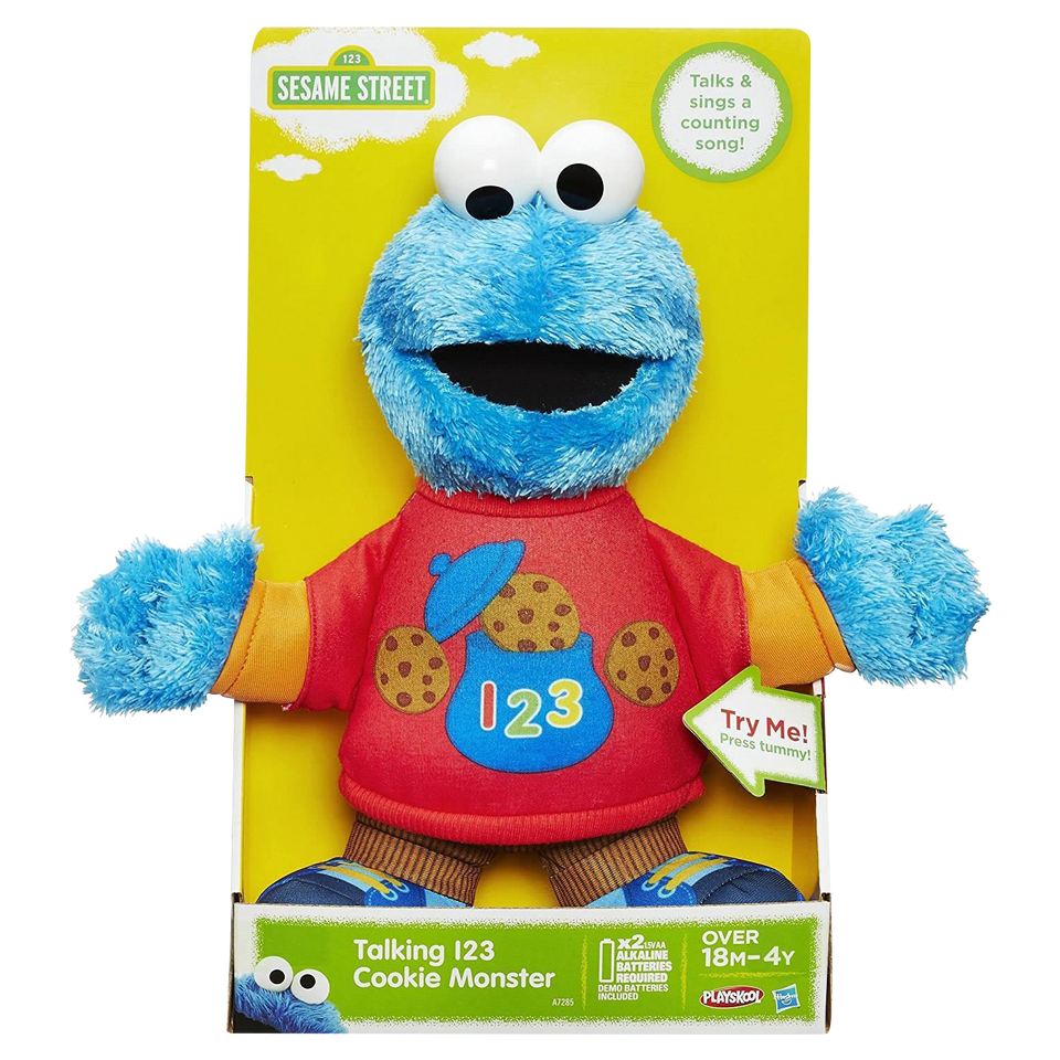 Playskool Sesame Street Talking 123 Cookie Monster Plush Counts Sings Hasbro A7285