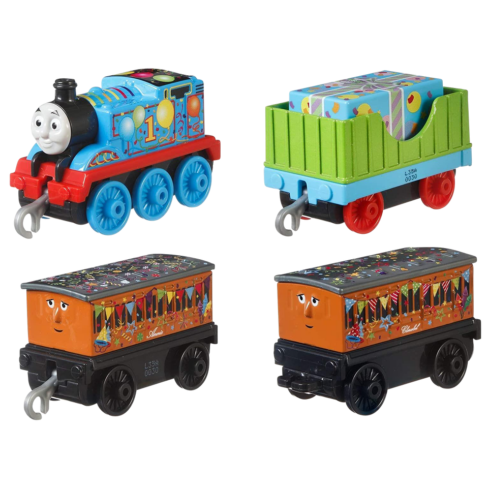 Thomas & Friends Celebration/Birthday Push Along 4-Pack Toy Trian Fisher-Price