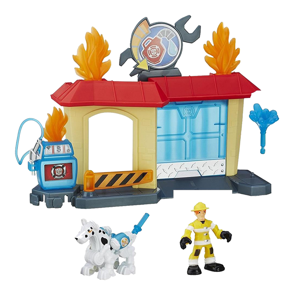 Playskool Heroes Transformers Rock Garage Rescue Bots Fireman Fireplug Griffin