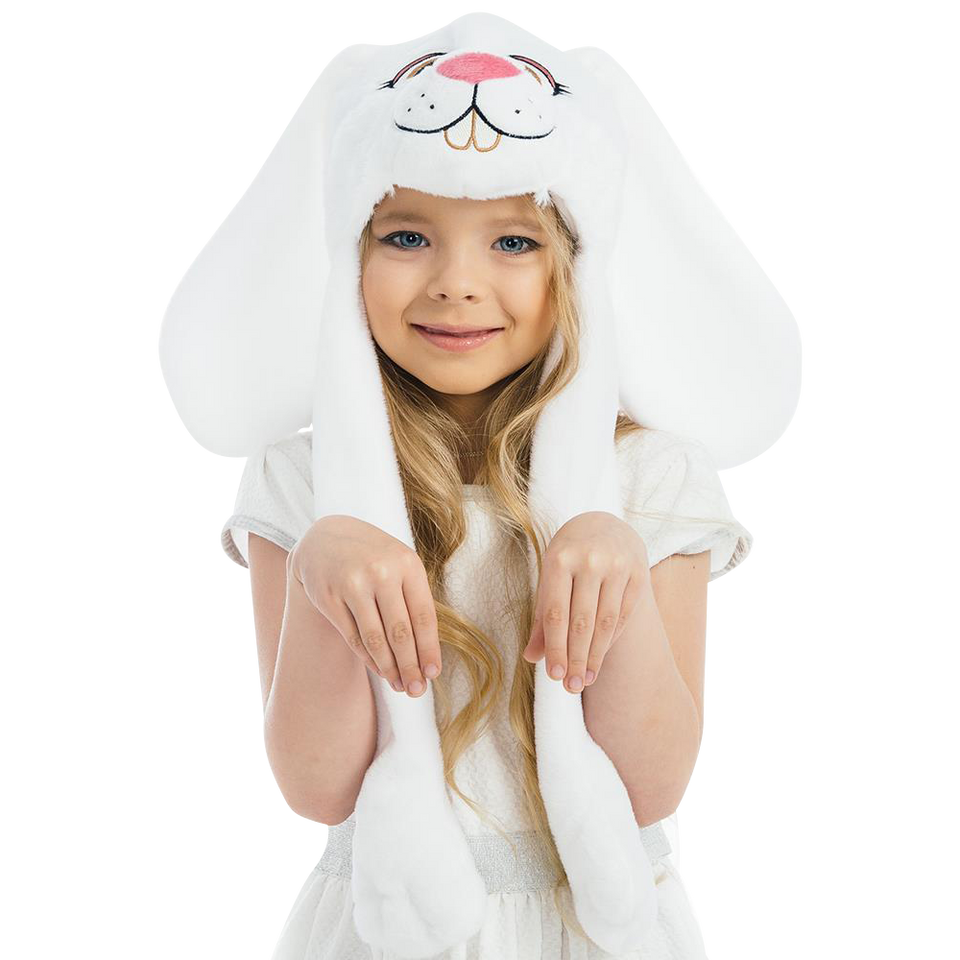 White Bunny Plush Headpiece Kids Dress-Up Play Accessory Hat Animal 5 O'Reet