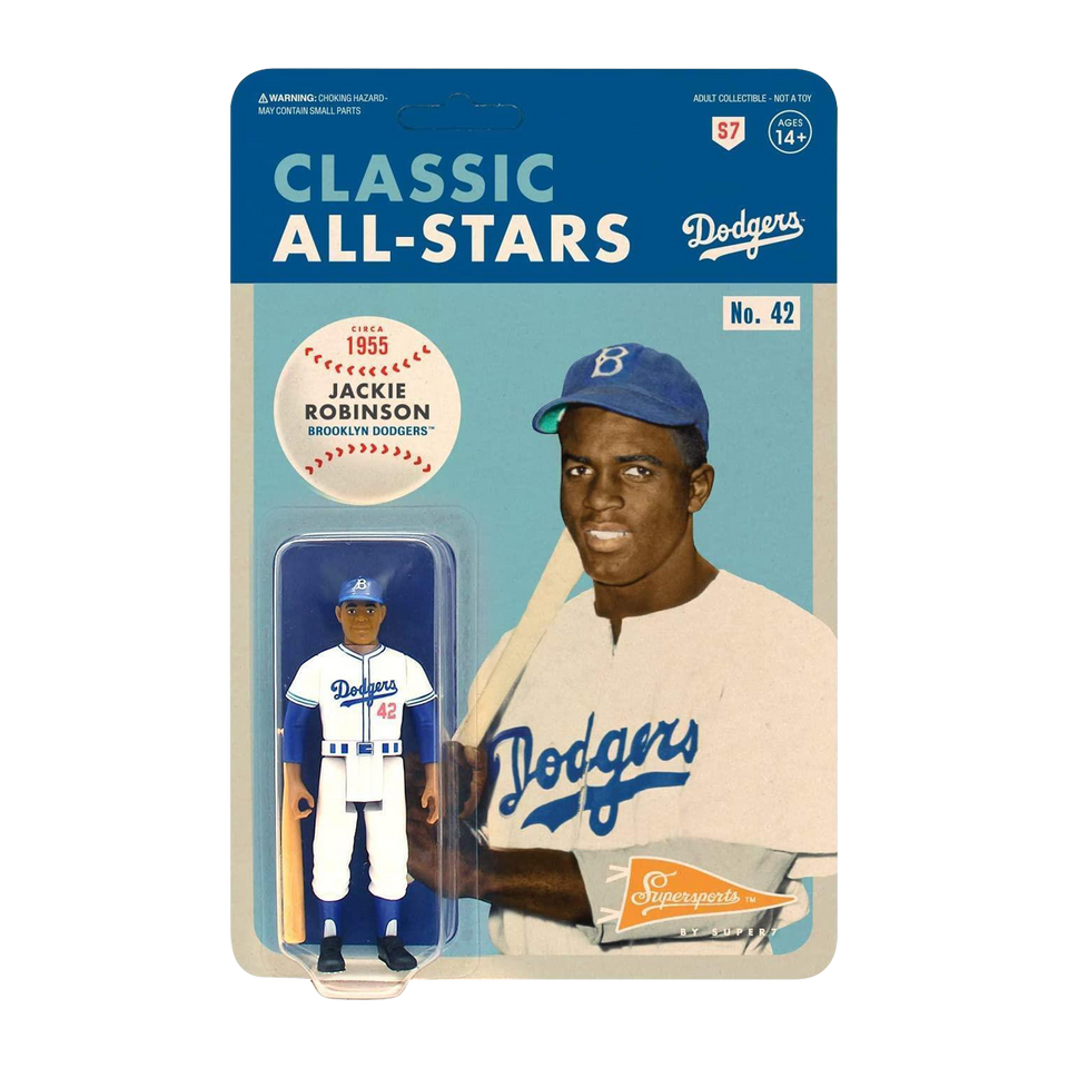 Jackie Robinson Reaction Figure Retro Los Angeles Dodgers MLB Super7
