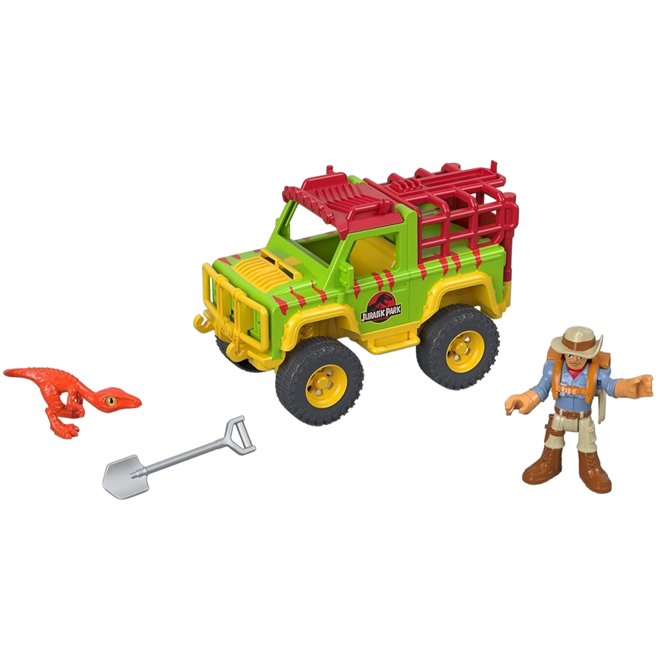 Imaginext Jurassic World Dr. Grant & 4x4 Caged Raptor Jeep