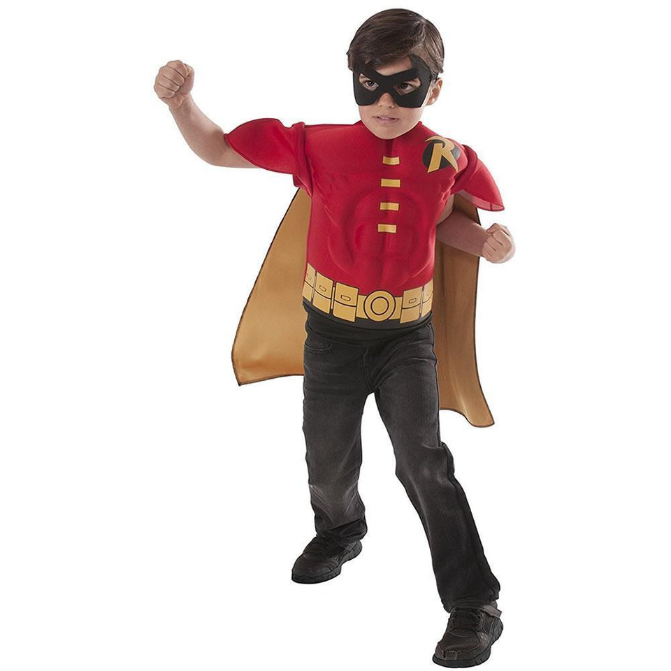 DC Comics Robin Muscle Chest Shirt Cape & Mask size M for 5-7yr Kids Costume Rubie's