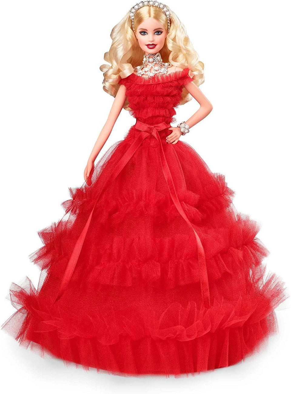 Barbie 2018 Holiday Doll Blonde Red Dress 30th Anniversary Mattel