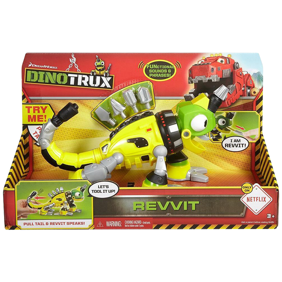 Dinotrux Reptool Revvit Tail-Activated Spinning Drill Head Figure Toy Mattel