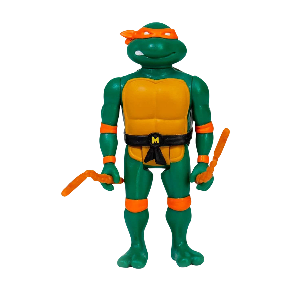 Reaction TMMT Michelangelo Action Figure Plastic Retro Design Super7