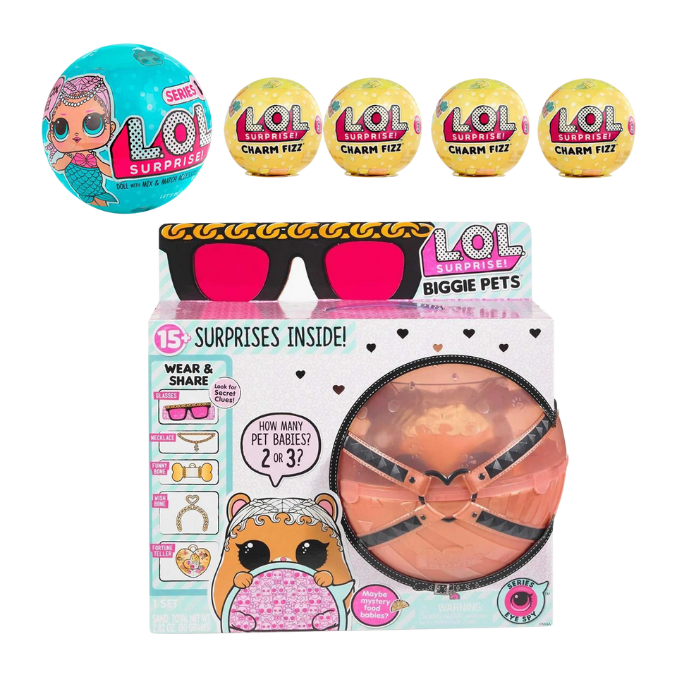 MGA L.O.L. Surprise! Biggie Pet MC Hammy Bundle Doll Sidekick + Charm Fizz Bath Bomb
