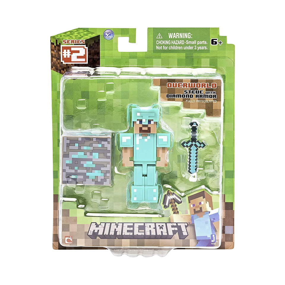 Minecraft Overworld Steve with Diamond Armor Figure Pack Jazwares