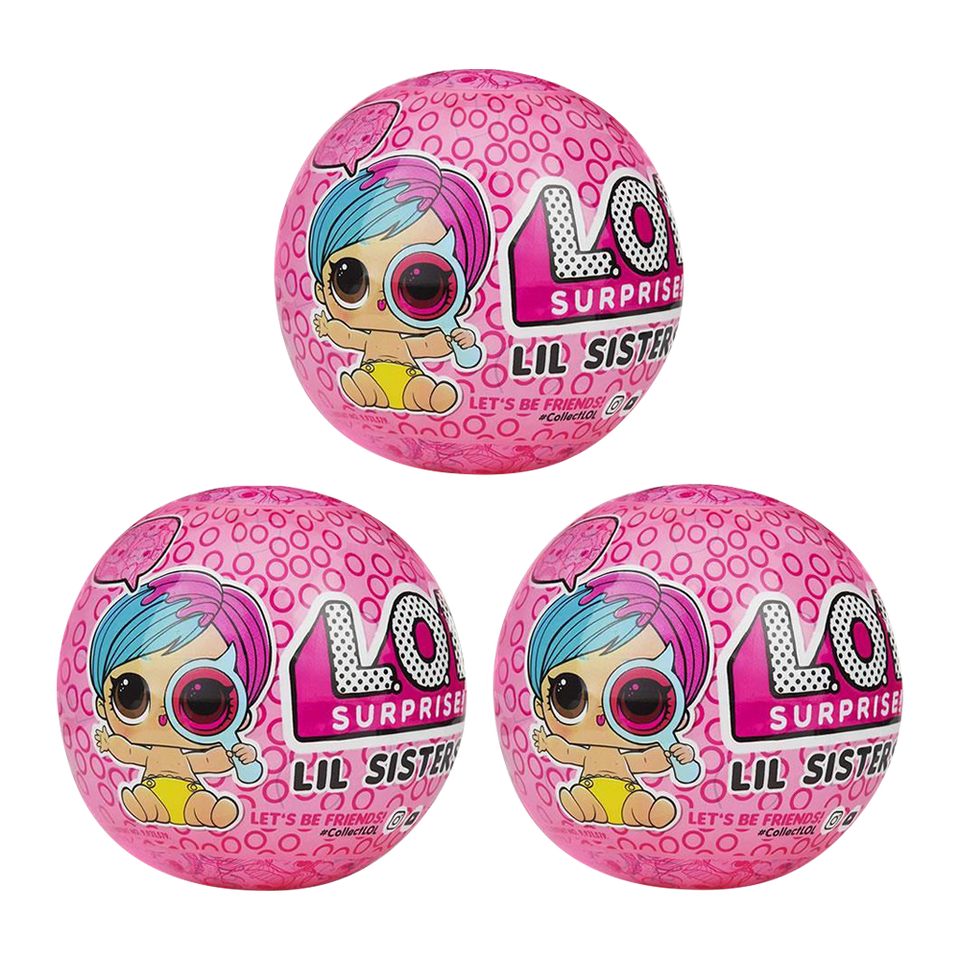 MGA L.O.L. Surprise! Eye Spy Lil Sisters Doll Ball Wave 2 Series - 3 Pack